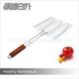 Wooden Handle Stainless Steel Three Fishes BBQ Grill Net