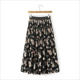 Flower Printed Long Pleated Skirt with Elastic Waist