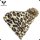 Lady′s Winter Jacquard Leopard Pattern Hat with Pompom