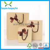Custom Logo Print Brown Kraft Paper Bag with Ribbon