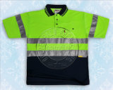 Yellow Reflective Tape Safety Contrast Polo Shirt