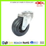 80mm Swivel Bolt Hole Black Rubber Wheel (G103-31D080X25)