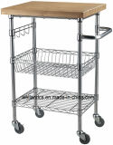 Removable DIY Wire Shelf Kitchen Cart with 38mm Thickness Bamboo Top and Hooks Rails