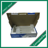 Blue and White Handle Carrier Packaging Box