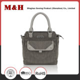 Multi-Pocketed Genuine Leather Gray Designer Fashionable Handbag