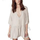 Fashion Women Leisure Loose Chiffon V-Neck Bandage T-Shirt Dress