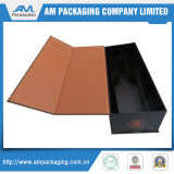 Wine Packaging Paper Box with Magnetic Closure Faux Leather Black Flocking Foam Insert