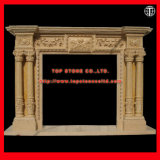 European Style Hand Carved Statue Yellow Marble Fireplace Mantle/Mantels Surround