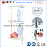 Chrome Steel Clothes Display Rack with Two Hanger Bar