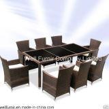 UK Rattan Dining Set/Wicker Furniture/9 Piece Contemporary Poly-Rattan Dining Set