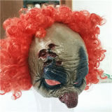 Wholesale Hallween Party Latex Mask Funny Clown Mask with Wig