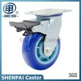 "5""Blue Polyurethane Swivel Locking Industrial Caster Wheel"