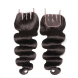 The 3parts Middle Hair Natural Color Body Wave Malaysian Women′s Toupee with 100% Human Hair and Full Lace