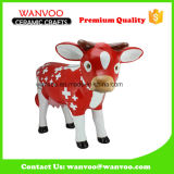 Porcelain Christmas Cow Statue for Holiday Ornament