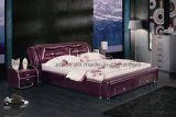 Home/Hotel Furniture Modern Soft Double Bedroom Leather Bed (J313#)