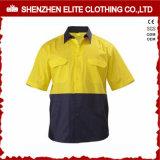 Short Sleeve Fluorescent Yellow Cotton Safety Shirt (ELTHVSI-17)