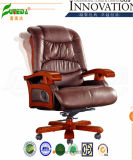 Swivel Leather Executive Office Chair with Solid Wood Foot (FY1032)
