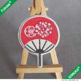 Sew on Hand Fan Shape Fabric Embriodery Label