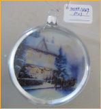 Hand Blown Christmas Flat Glass Ball with House Pattern Inside