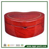 Heart-Shaped Storage Wooden Jewelry Box with Mirror