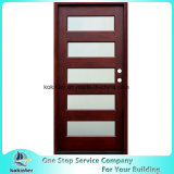 Contemporary 5-Panel Stained Mahogany Prehung Front Door