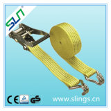 800kg 25mm Wide, Ratchet Strap with Claw Hook Ends - 4 or 6 Metre Length Options Sln Ce GS