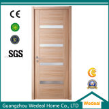 Modern Readymade Simple Wood Veneer Flush Interior Door with Glasses