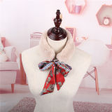 Luxuriant in Design Fur Ribbon Thick Warm Scarf with Silk Decoration