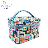 Simple Style Cosmetic Bag with PU Handle