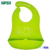 Green Moo-Cow Lightweight Food Grade Silicone Baby Products Dishwashable Silicone Bib with Catcher