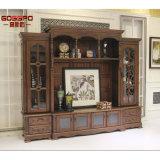 Antique Traditional Glass Wood Framed Door Shelves TV Stand (GSP15-004)