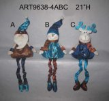 Santa, Snowman and Moose Spring Legged Decoration Gift, 3 Asst