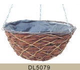 Cone Shaped Wooden Skin and Rattan Hanging Flower Basket