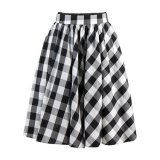 Wholesale Online High Waist Retro Inspred Circle Swing Black White Plaid Skirt