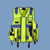 Traffic Police Safety Multi-Pocketed Apparel Enhance Visibility Reflective Vest