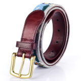 100% Wool and Leather Nobleman Needlepoint Belt (RS-150914)