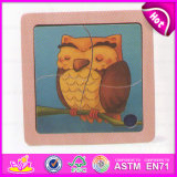2015 Lovely Owl Deisgn Kids Wooden Puzzle Toy, Children 4 PCS Wooden Animal Puzzles, Promotional Animal Wooden Puzzle Game W14c160