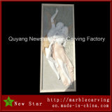 White Marble Stone Wall Relief Abstract Sculpture