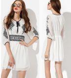 OEM 2015 Latest Fashion Women Chiffon Embroideried Dress