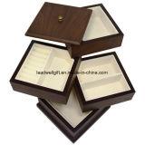 Premium Wooden Swivel Jewelry Box Organizer Storage