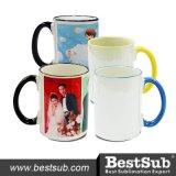 Bestsub 15oz Inner and Rim Color Sublimation Ceramic Photo Mug (B21T-02)