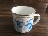 Modern Design Enamel Mug/Cup with Stainless Rim/Edge