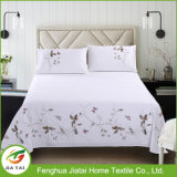 Custom Embroidered Plaid Bedsheet Polyester Bed Sheet