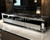 Luxury Home Furniture Fashionable Glass Top TV Stand Woodern Table