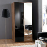 Wooden High Gloss 2 Door Mirrored Combi Wardrobe (WB02)