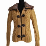Ladies Sweater Coat With Wool Neck