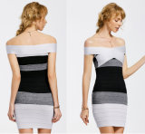 Knitted off Shoulder Contrasting Bodycon Dress