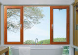 Wooden Grain Aluminium Window Frame with Double Clear Glass