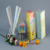 Striped Color Plastic Drinking Straw, Pack of 150 Count