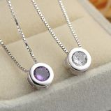 925 Sterling Silver Pendant Necklace, Zirconia Jewelry for Women Girls
